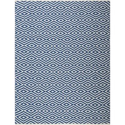 Alma Hand-Woven Navy Area Rug Rug Size: 76 x 96