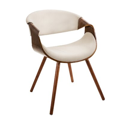 Corsica Curvo Armchair Finish: Cream, Leg Finish: Straight Wood Frame