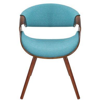 Corsica Curvo Armchair Finish: Teal, Leg Finish: Cross Frame Bentwood