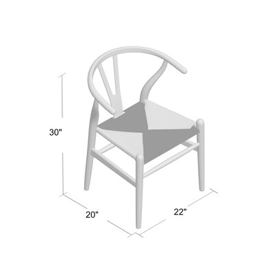 Villa Court Solid Wood Dining Chair Frame Finish: White, Seat Finish: Natural