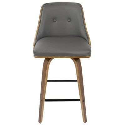 Alexa Counter 26.25 Swivel Bar Stool Upholstery: Grey