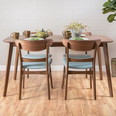 Yolanda 5 Piece Dining Set Table Finish: Natural Walnut, Chair Finish: Mint