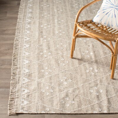 Aldergrove Hand-Woven Beige Area Rug Rug Size: Rectangle 4 x 6