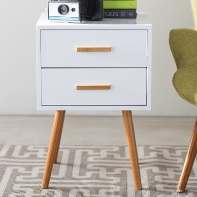 Phoebe End Table With Storage Color: White