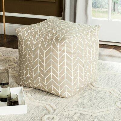 Chenango Pouf Upholstery: Greige/White