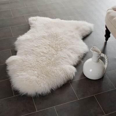 Allison Hand-Woven Faux Sheepskin White Area Rug Rug Size: Novelty 2 x 3