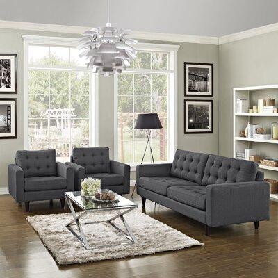 Warren 3 Piece Living Room Set Upholstery: Gray