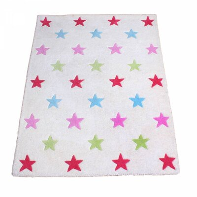 Star Hand-Tufted White Kids Rug