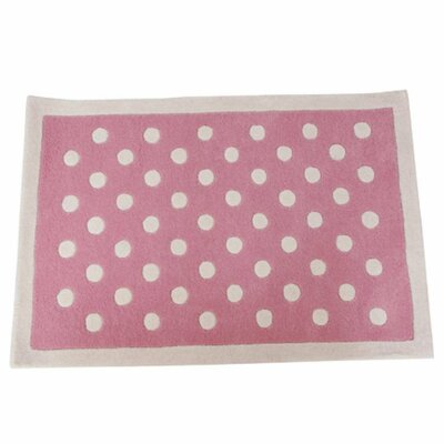 Polka Dot Hand-Tufted Pink/White Kids Rug