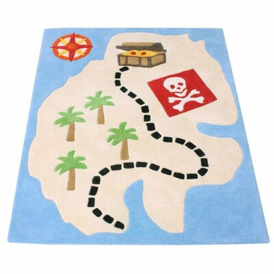 Pirate Hand-woven Blue/beige Area Rug
