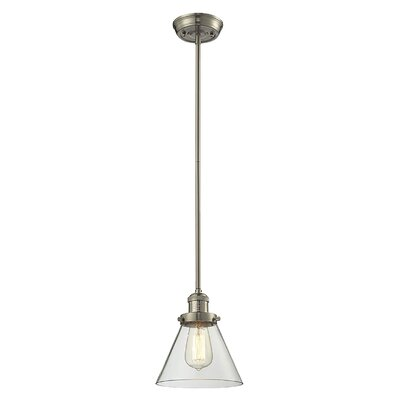 Glass Cone 1-Light Pendant Size: 10 W x 8 D, Shade Color: Clear, Finish: Satin Nickel
