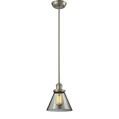 Glass Cone 1-Light Pendant Size: 10 W x 8 D, Shade Color: Smoked, Finish: Satin Nickel