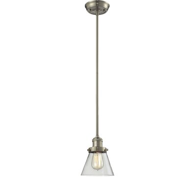 Glass Cone 1-Light Pendant Shade Color: Clear, Size: 8.25 W x 6.25 D, Finish: Satin Nickel