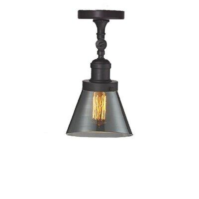 Glass Cone 1-Light Semi Flush Mount Size: 11 H x 6.25 W, Shade Color: Smoked, Finish: Oiled Rubbed Bronze