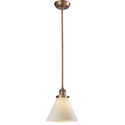 Glass Cone 1-Light Pendant Shade Color: Matte White Cased, Size: 10 W x 8 D, Finish: Antique Copper