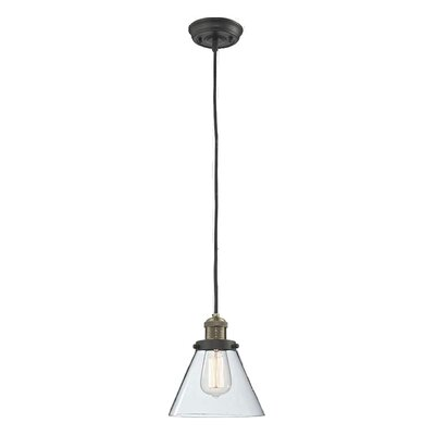 Glass Cone 1-Light Pendant Finish: Black/Brushed Brass, Shade Color: Clear, Size: 10 H x 8 W