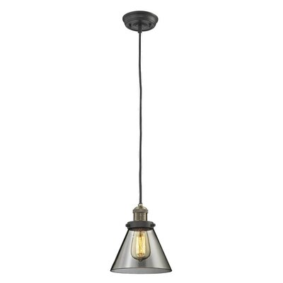 Glass Cone 1-Light Pendant Finish: Black/Brushed Brass, Shade Color: Smoked, Size: 10 H x 8 W