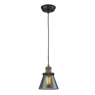 Glass Cone 1-Light Pendant Finish: Black/Brushed Brass, Size: 8.25 H x 6.25 W, Shade Color: Smoked