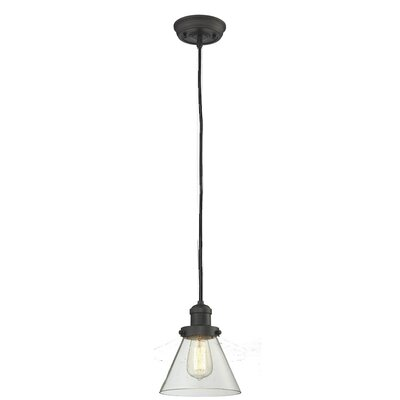Glass Cone 1-Light Pendant Shade Color: Clear, Size: 10 H x 8 W, Finish: Oiled Rubbed Bronze