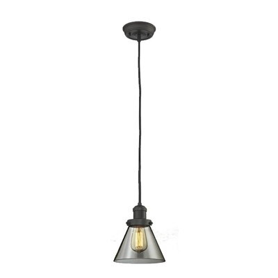 Glass Cone 1-Light Pendant Shade Color: Smoked, Size: 10 H x 8 W, Finish: Oiled Rubbed Bronze