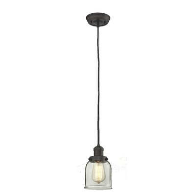 Witherington Glass Bell 1-Light Mini Pendant Color: Polished Nickel, Shade Color: Smoked, Size: 10 H x 8 W