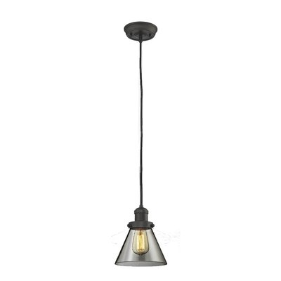Glass Cone 1-Light Pendant Size: 8.25 H x 6.25 W, Shade Color: Smoked, Finish: Oiled Rubbed Bronze