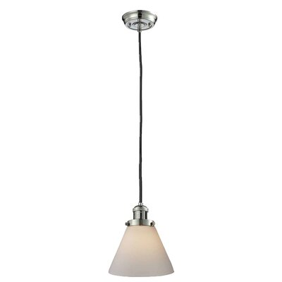 Glass Cone 1-Light Pendant Shade Color: Matte White Cased, Size: 10 H x 8 W, Finish: Polished Nickel