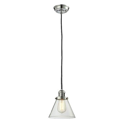 Glass Cone 1-Light Pendant Shade Color: Clear, Size: 10 H x 8 W, Finish: Polished Nickel