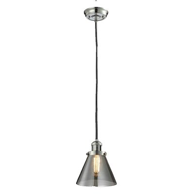 Glass Cone 1-Light Pendant Shade Color: Smoked, Size: 10 H x 8 W, Finish: Polished Nickel