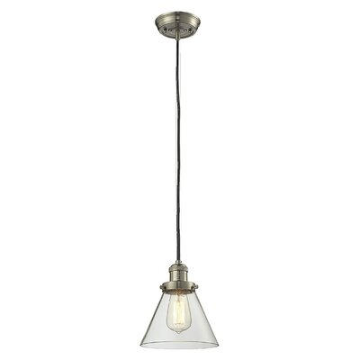 Glass Cone 1-Light Pendant Shade Color: Clear, Size: 10 H x 8 W, Finish: Satin Nickel