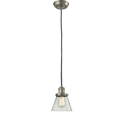 Glass Cone 1-Light Pendant Size: 8.25 H x 6.25 W, Shade Color: Clear, Finish: Satin Nickel