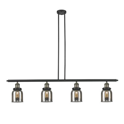 Glass Bell 4-Light Kitchen Island Pendant Size: 48 W x 5 D, Shade Color: Smoked, Finish: Black/Brushed Brass