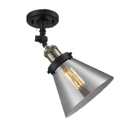 Glass Cone 1-Light Semi Flush Mount Size: 11 H x 6.25 W, Shade Color: Smoked, Finish: Black/Brushed Brass