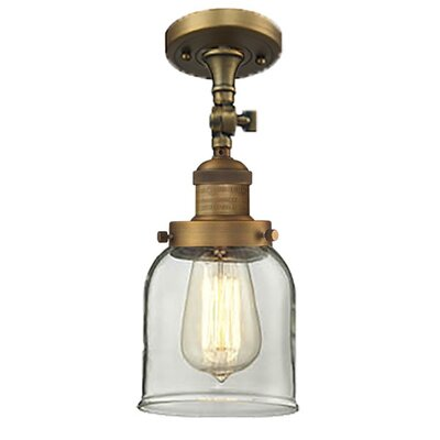 Bell Glass 1-Light Semi Flush Mount Size: 11 H x 8 W, Shade Color: Clear, Finish: Brushed Brass