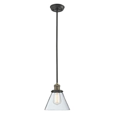 Glass Cone 1-Light Pendant Size: 10 W x 8 D, Shade Color: Clear, Finish: Black/Brushed Brass