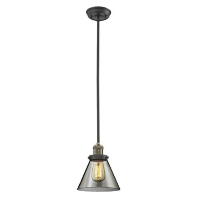 Glass Cone 1-Light Pendant Size: 10 W x 8 D, Shade Color: Smoked, Finish: Black/Brushed Brass