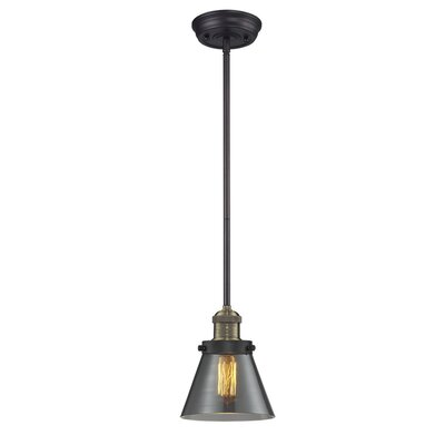 Glass Cone 1-Light Pendant Shade Color: Smoked, Size: 8.25 W x 6.25 D, Finish: Black/Brushed Brass