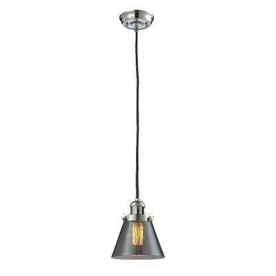 Glass Cone 1-Light Pendant Size: 8.25 H x 6.25 W, Shade Color: Smoked, Finish: Polished Nickel
