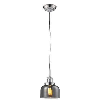 Glass Bell 1-Light Mini Pendant Size: 10 H x 8 W, Finish: Polished Nickel, Shade Color: Smoked