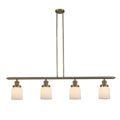 Glass Bell 4-Light Kitchen Island Pendant Shade Color: Matte White Cased, Size: 48 W x 5 D, Finish: Brushed Brass