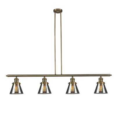 Glass Cone 4-Light Kitchen Island Pendant Shade Color: Smoked, Size: 48 W x 5 D, Finish: Brushed Brass