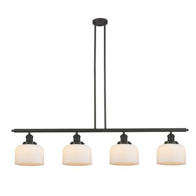 Glass Bell 4-Light Kitchen Island Pendant Shade Color: Matte White Cased, Finish: Oiled Rubbed Bronze, Size: 48 W x 8 D