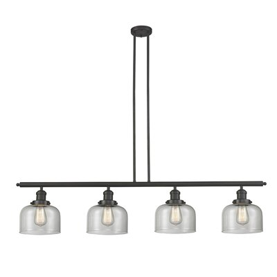 Glass Bell 4-Light Kitchen Island Pendant Shade Color: Matte White Cased, Size: 48 W x 8 D, Finish: Black/Brushed Brass