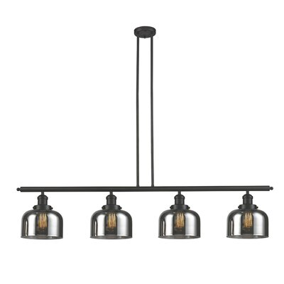Glass Bell 4-Light Kitchen Island Pendant Shade Color: Smoked, Finish: Oiled Rubbed Bronze, Size: 48 W x 8 D