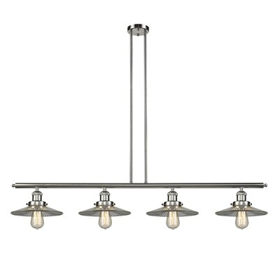 Holophane Glass 4-Light Kitchen Island Pendant Finish: Polished Nickel