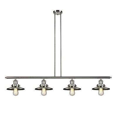 Railroad Shade 4-Light Kitchen Island Pendant Finish: Polished Nickel