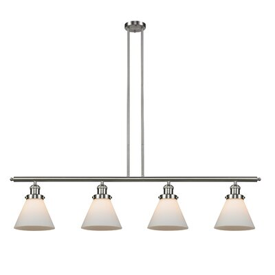 Glass Cone 4-Light Kitchen Island Pendant Shade Color: Matte White Cased, Size: 48 W x 8 D, Finish: Satin Nickel