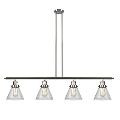 Glass Cone 4-Light Kitchen Island Pendant Size: 48 W x 8 D, Shade Color: Clear, Finish: Satin Nickel