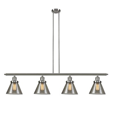 Glass Cone 4-Light Kitchen Island Pendant Size: 48 W x 8 D, Shade Color: Smoked, Finish: Satin Nickel