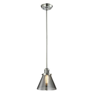Glass Cone 1-Light Pendant Size: 10 W x 8 D, Shade Color: Smoked, Finish: Polished Nickel